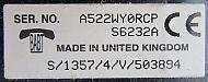 Motorola Cellnet A130 data label